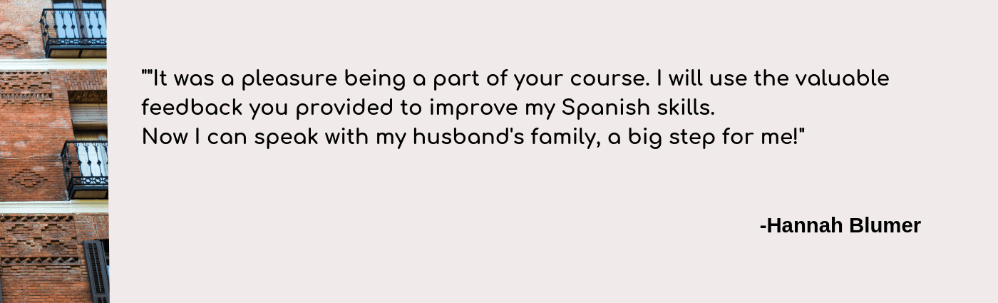 spanish pronunciation course testimonial